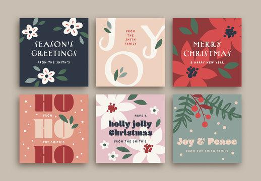 Colorful Christmas Social Media Layout Set