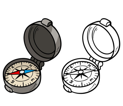 Cartoon open geographical mariner compass in box. Isolated on white background. Vector icon for coloring.