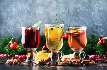 Mulled wine and mulled cider. Hot winter drinks and cocktails for christmas or new year's eve in...