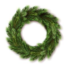 Fototapeta realistic fir advent wreath illustration obraz