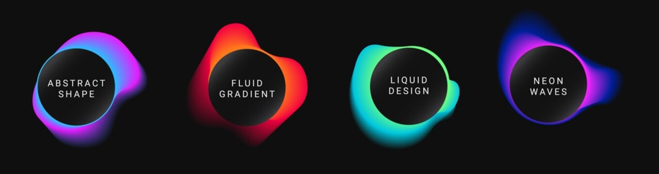 Vector colorful neon templates. Circle shapes with vivid gradients. Fluid gradients for banners, posters, covers.