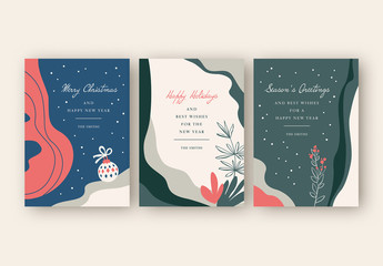 Holiday Card Layout Set with Minimalist Illustrations