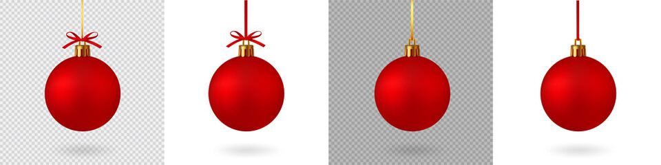 Realistic Red Christmas ball with ribbon and bow, isolated background - stock vector. Fotomurales