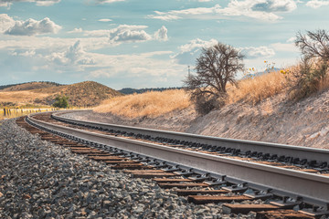 Curvy railroad track in Utah, USA - the way forward