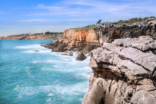 Seaside cliffs close to Cascais in Portugal