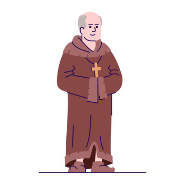 Medieval priest flat vector illustration. Middle Age monk isolated cartoon characters with outline elements on white background. Catholic preacher in robe. Christian faith and religion