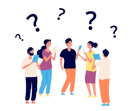 Finding solution. Thinking people, teamwork. Vector persons think with question marks. Question problem, solution idea, people riddle illustration