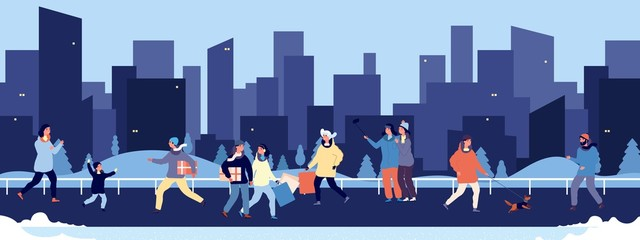 Winter walking. Happy people walking in downtown vector illustration. Flat men women child pets on street and skyscrapers silhouettes. Winter with people. Winter woman and man outerwear xmas seasonal