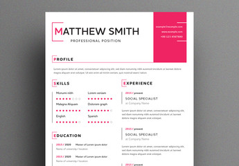 Minimalist Resume with Magenta Accents