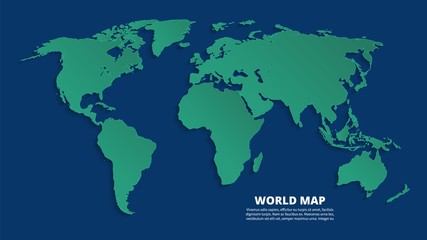 Fotomurales - World 3d map. Earth green map on blue background. Vector template for business infographic, eco concept. Illustration of earth world map, continent worldwide geography