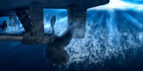 Propeller and rudder of big ship underway from underwater. Close up image detail of ship. Transportation industry. Freight transportation.