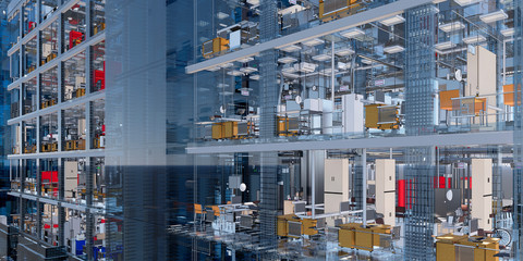 Conceptual visualization of the BIM model of the office building