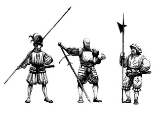Medieval warriors after the battle. Mercenary illustration. Historical Illustration set.
