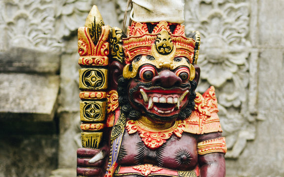 Bali, Indonesia, sculpture of the defender of the temple