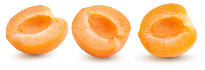 collection of apricot halves isolated on a white background