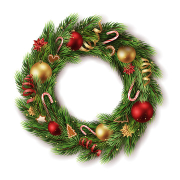 realistic decorated advent wreath with many detailed christmas elements