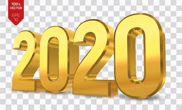 2020 Golden Numbers isolated on transparent background. Happy New Year 2020. 3D new year sign for greeting card or poster. Vector Illustration.