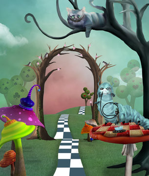 Surreal countryside landscape inspired by Alice in Wonderland fairytale