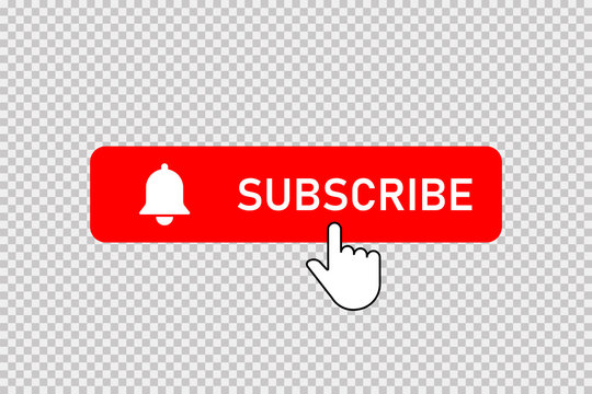 Subscribe red button with bell and hand clicking cursor. Subscribe button with bell and pointer. Social media element. Notification button.