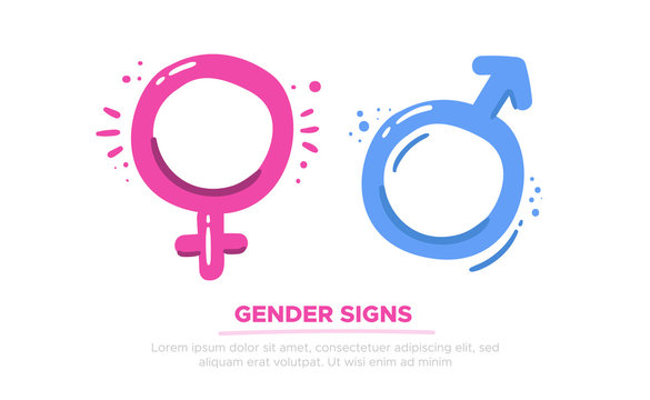 Male and female gender symbols, Mars and Venus signs, relationship concept for your design