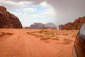 Foto auf AluDibond Koralle Spectacularly scenic desert landscape of Wadi Rum, Jordan