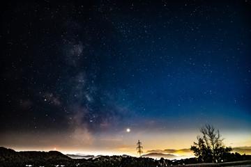 Nacht Landschaftsbild Milchstraße Digital Aufbereitet