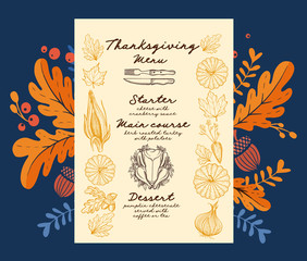 Thanksgiving food menu for holiday dinner celebration.