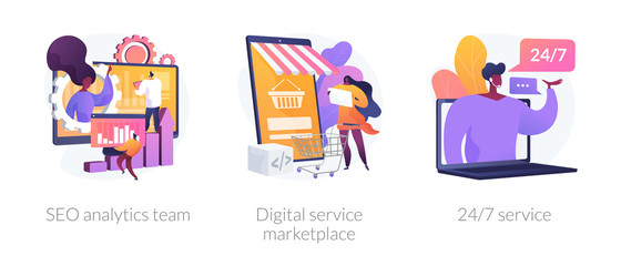 Business teamwork, internet commerce, customer support icons set. Seo analytics team, digital service marketplace, 24-7 service metaphors. Vector isolated concept metaphor illustrations