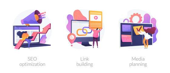 Internet business development, networking strategy, task management icons set. Seo optimization, link building, media planning metaphors. Vector isolated concept metaphor illustrations