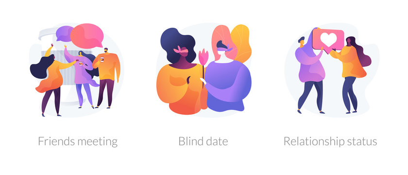 Friendship and communication, flirt and partner search, romantic bonding icons set. Friends meeting, blind date, relationship status metaphors. Vector isolated concept metaphor illustrations