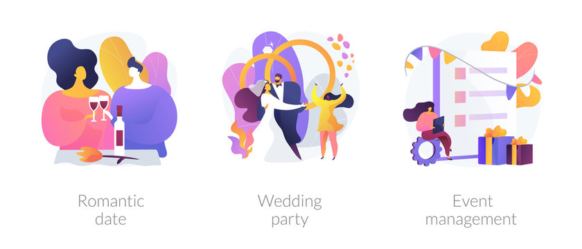 Love and romance, marriage ceremony, professional event planning service icons set. Romantic date, wedding party, event management metaphors. Vector isolated concept metaphor illustrations