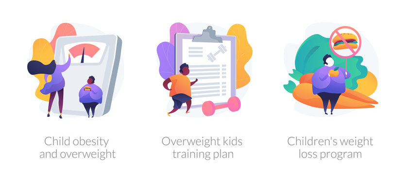 Unhealthy lifestyle, vegetarian diet icons set. Child obesity and overweight, overweight kids training plan, childrens weight loss program metaphors. Vector isolated concept metaphor illustrations