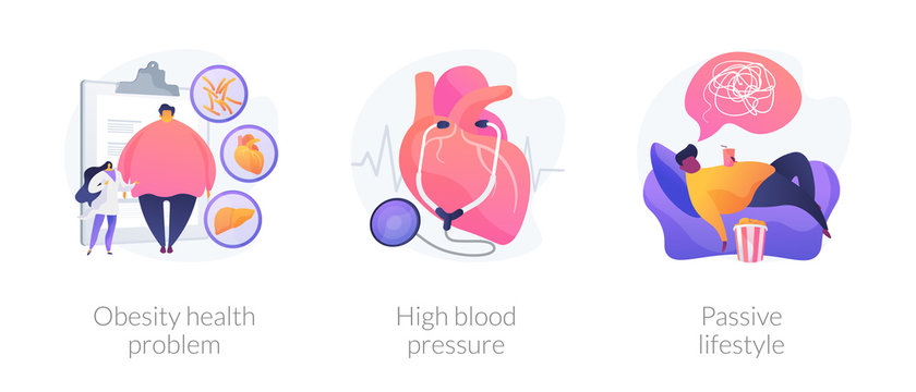 Overweight issue, heart disease treatment, unhealthy pastime icons set. Obesity health problem, high blood pressure, passive lifestyle metaphors. Vector isolated concept metaphor illustrations