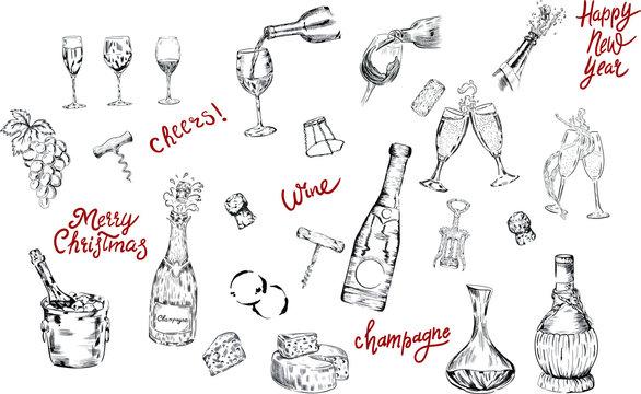 set of elements for design. wine, corks, corkscrews, wine glasses , wine smears, champagne, prosecco, lettering