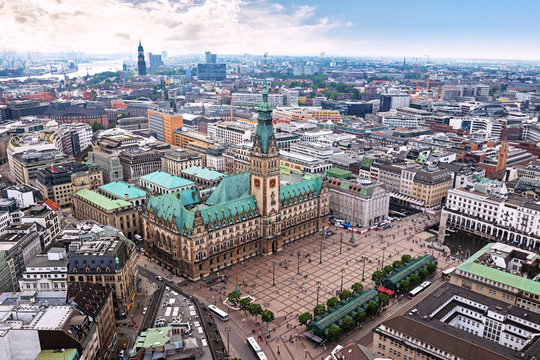 Downtown of Hamburg with the view of town hall, aerial panorama, Germany