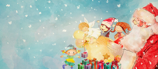 Christmas angel,Santa Claus and children. Watercolor banner