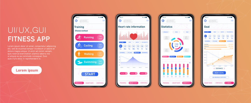 Fitness mobile app interface template. Vector illustration