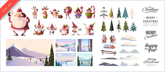 Christmas kit for creating postcards or posters. Included snow-covered houses, Santa Clauses, snowmen, Christmas trees, various snow drifts, lettering for headlines and backgrounds Wall mural