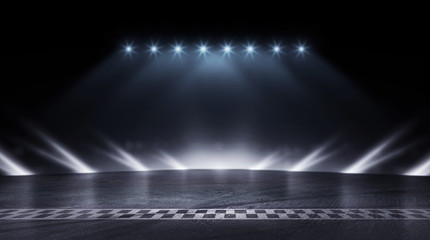 3D Rendering abstract race track finish line racing on night