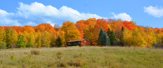 Fall landscape eastern townships Bromont Quebec province Canada