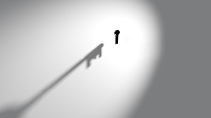 Shadow cast by imaginary door key approach move to towards enter insert open unlock keyhole lock. White light wall background backdrop. Dark black hole. Abstract surreal surrealism conceptual mystery.
