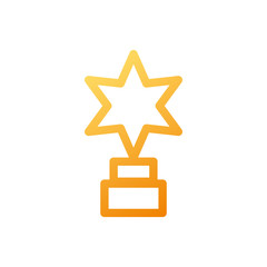 star shaped trophy on white background