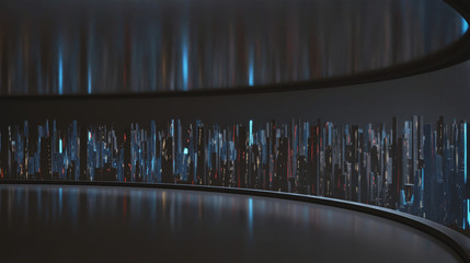 Wall Mural - 3D Rendering of wide angle view of abstract digital city from large empty window panel room. Led light reflection on ceiling and floor. Concept of big data, ai. For product show case background.