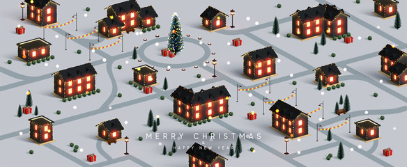 Christmas night city. Winter Xmas village landscape, cottage town and country, Decorated with New Year garland, blur lights bokeh. Festive banner, web poster, greeting card, cover. Vector illustration
