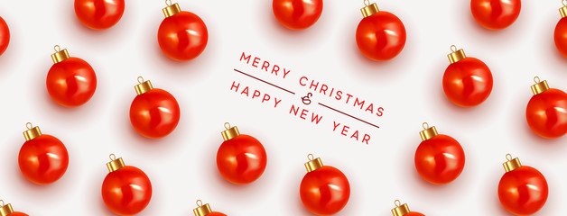 Merry Christmas and Happy New Year. Pattern Xmas red balls. Christmas bauble background.