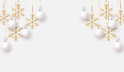 Fotomurales - Christmas balls background. Hanging white Xmas decorative bauble, 3d golden metallic snowflakes on the ribbon. Festive vector realistic decor ornaments