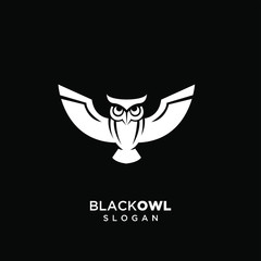 white owl logo silhouette icon design vector with black background