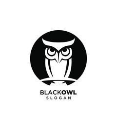 Wall Murals Owls cartoon owl black logo silhouette icon design vector