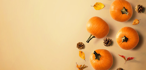 Wall Mural - Autumn pumpkins with leaves - overhead view flat lay