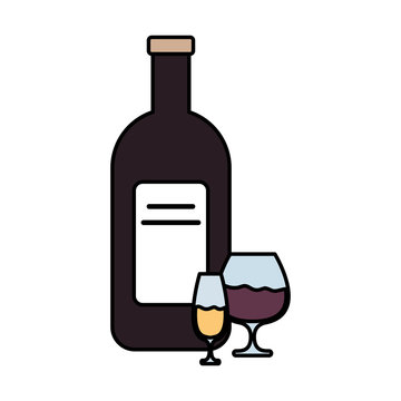 wine bottle and cups drink isolated icon